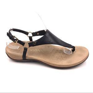 Vionic Kirra Black Backstrap Leather Thong Sandals
